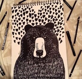Original art for sale (hand drawn Bear drawing)
