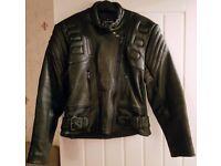 Ladies Leather Motorbike Jacket - Size 12 - Like New