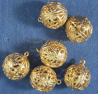 10 Gold Plated Round Filigree Bali Ball Bead Charm 4902
