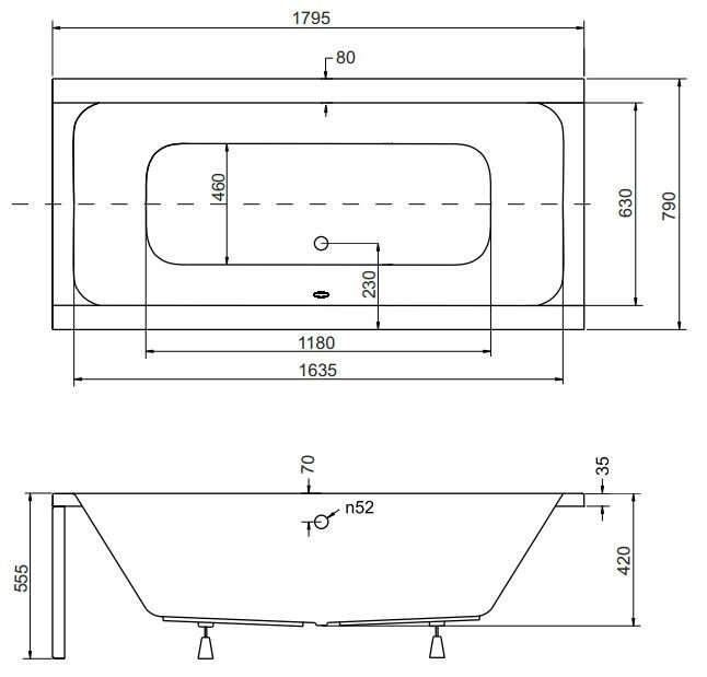 badewanne mit trger 180x80 inspiration design familie traumhaus. Black Bedroom Furniture Sets. Home Design Ideas