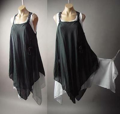 Victorian Dark Boho Mori Girl Italy Quirky Lagenlook Pinafore 202 mv Dress OS