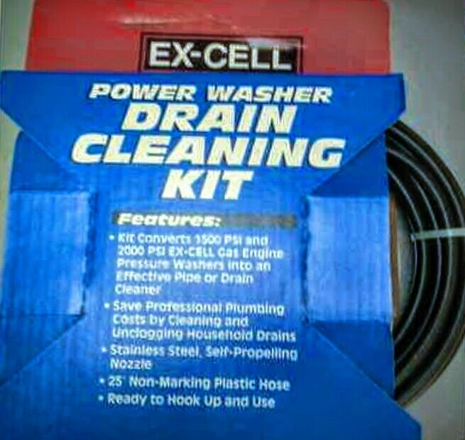EX-CELL Power Washer Drain Cleaning Kit, 25 FT Non-Marking Hose, 1500 / 2000 PSI