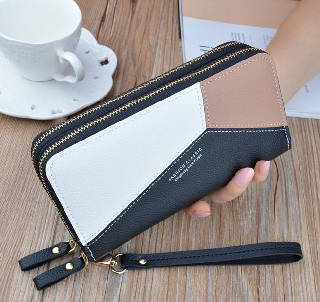 Portemonnaie Geldbörse Damen Double Reißverschluss Brieftasche Großes Portmonee