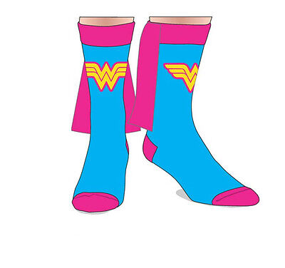 Wonder Woman DC Comics Costume Cosplay Pink & Blue Crew Socks with Cape (Wonder Woman Socks With Cape)