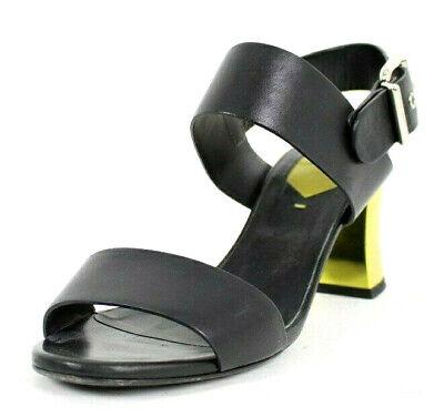 FENDI Black Leather Strappy Yellow Mirrored Heels Sandals 37.5