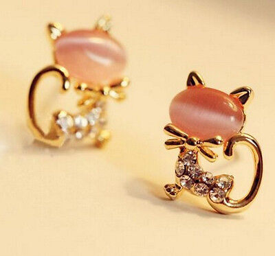 1 Pair Fashion Women Elegant Crystal Rhinestone Cute Cat Ear Stud New Earrings