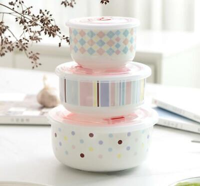 Cute 3pcs Kitchen Ceramic Food Rice Oatmeal Salad Bowl Storage Containers Set