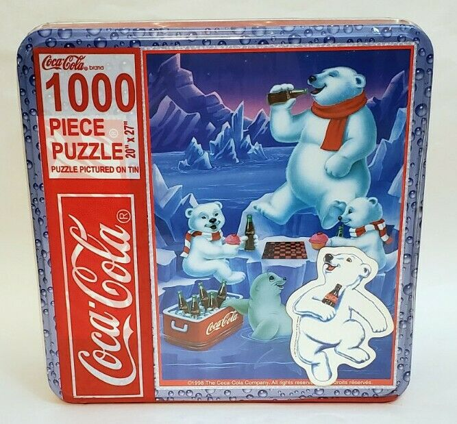 "Vtg Coca Cola 1000 Piece Puzzle In Tin Polar Bears 20"" x 27"" 1998 New Sealed"