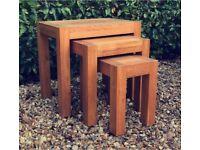 Solid Oak - Original Rustic - Nest of 3x Tables - Oak Furniture Land - Beautiful!