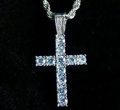 Cross Pendant Tennis Solid 18K Gold Lab Diamond Necklace Chain LIFETIME WARRANTY