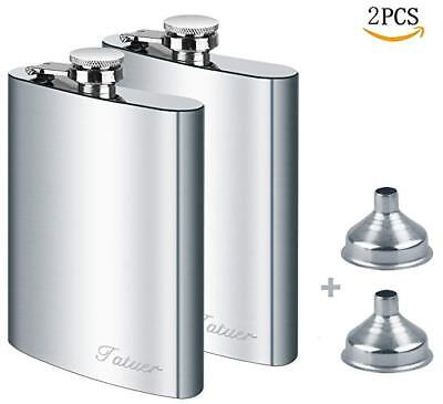2 x 8oz Stainless Steel Pocket Hip Flask Alcohol Whiskey Liquor Screw Cap&Funnel