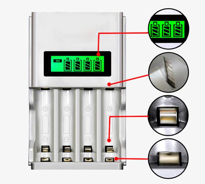 Universal Akku Batterie Aufladegerät LCD Ladegerät für 4 AA AAA Schnelladegerät