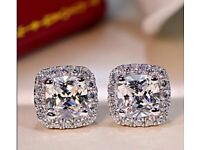 Luxury Shinning 2ct AAA zircon Stud Earrring White Gold Filled