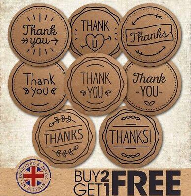 Kraft Thank You/Thanks Stationery Wedding/Invite/Favour/Heart/Sweet Sticker
