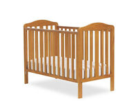 Cot - like new - pine colour - WITH mattress