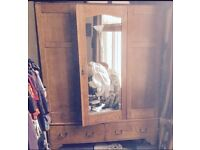 Vintage Wardrobe . Double solid wood with mirror