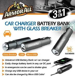 ArmorAll 3 in 1 Car Charger/Battery Bank with Glass Breaker - ABB8-1003-BLK