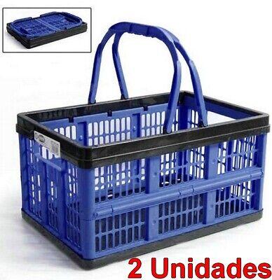 2 x Caja cesta organizador Multiusos Plegable 16 Litros con asas, 39...