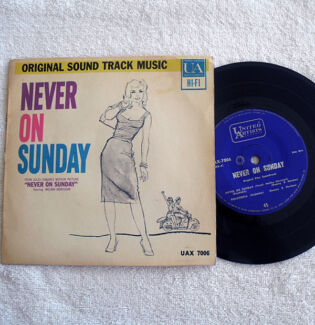 "RARE 1960 - 7"" Vinyl - Never On Sunday - Movie Soundtrack JG1"
