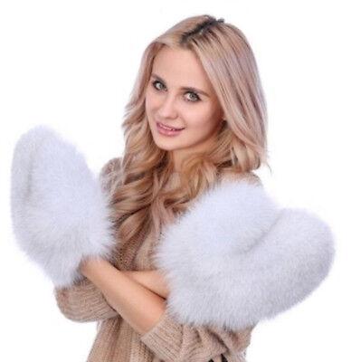 Unisex New Norwegian Blue Fox Fur Mittens Mitten Men Women