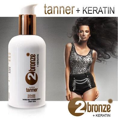 Sunless self Tanner 2Bronze + Keratin Tanning Lotion. Instant Bronzer for (Bronze Self Tanning Lotion)