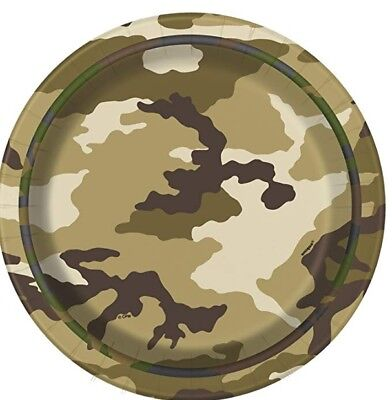 """MILITARY CAMO Camouflage Birthday Party Supplies Small 7"""" Dessert PLATES  (Military Birthday Supplies)"""
