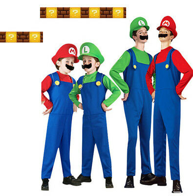 Luigi Costume Womens (Kids Super Mario Luigi Bros Fancy Dress Costume Cosplay Mens Womens Outfit)