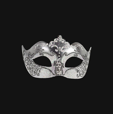 Mask Venice Colombine Silver Pearl White Pink Authentic Venetian 259