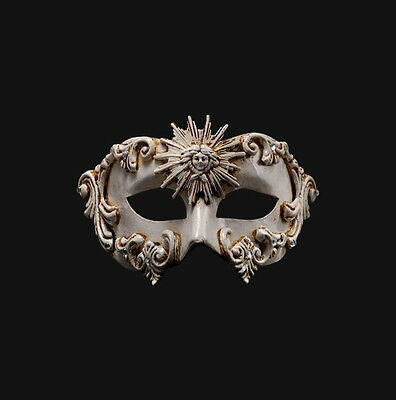 Mask from Venice Colombine Barocco Sun White Authentic Paper Mache 435