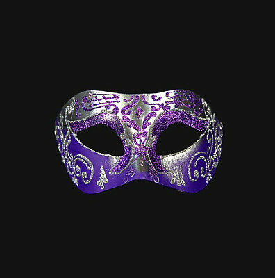 Mask from Venice Wolf Colombine Silver and Purple Authentic Venetian 432