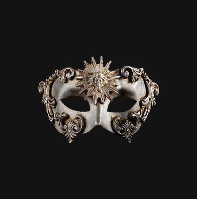 Mask from Venice Colombine Barocco Sun Silver Authentic Paper Mache 434