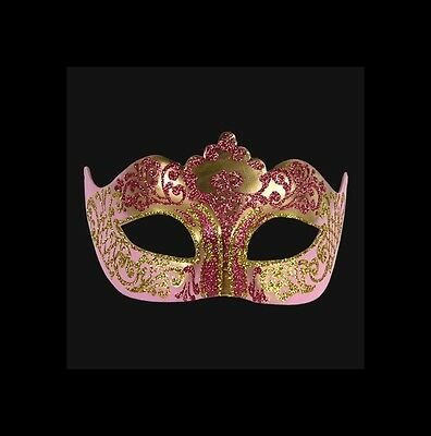 Mask from Venice Colombine Golden and Pink Authentic Carnival Venetian 429