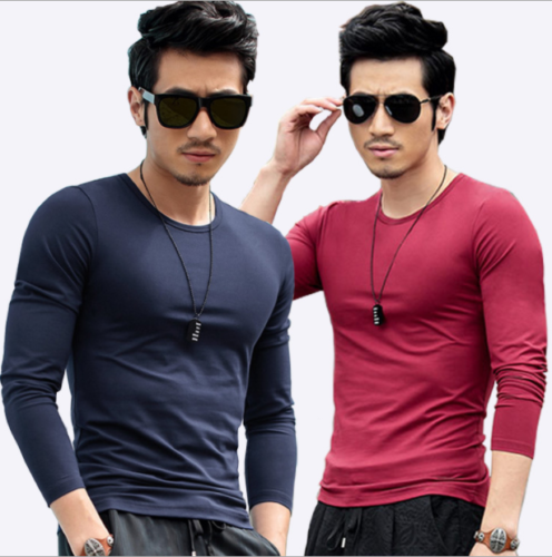 Fashion Men Long Sleeve Solid Color Blouse Slim Fit Milk Silk Casual T-Shirt Top