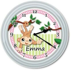 Personalized Monkey Nursery Baby WALL CLOCK  Jungle Safari Girls Room Decor GIFT