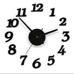 Black Simple Ultra-quiet Interior 3D Wall Clock Frameless DIY Home Room Decor