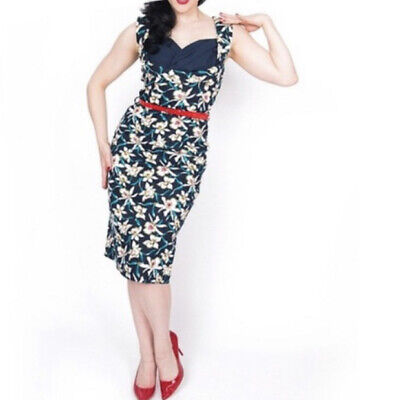 Lindy Bop Vanessa Lily Floral Print Pencil Dress Size 8 BNWT Pin Up 50s Wiggle