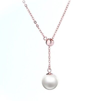 Rose Gold Sterling Silver Minimalist Pearl Drop Y Lariat Necklace Gift Box PE3