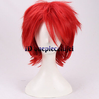 Short Red Wig Halloween (Bride of Chucky Cosplay Wig Halloween Red Short Hair Full Wigs +a wig)