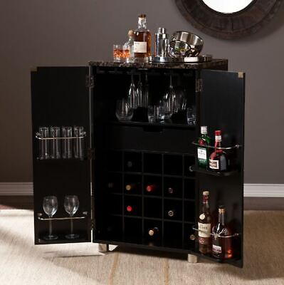 Small Home Bar Liquor Cabinet Wine Rack Modern Kitchen Storage Cocktail Glasses
