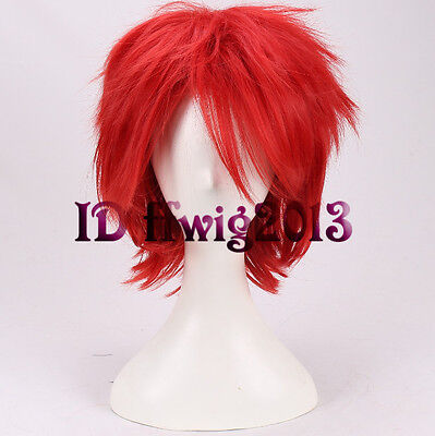 Chucky Cosplay Wig Halloween Red Short Hair Full Wigs +a wig cap](Red Chucky Wig)