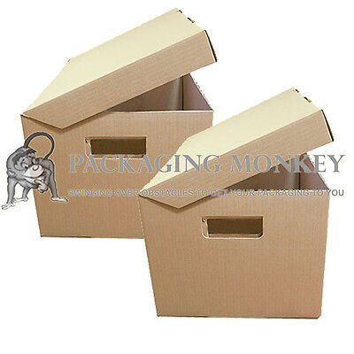 5 x STRONG A4 FILING ARCHIVE STORAGE REMOVAL CARDBOARD BOXES WITH HANDLES