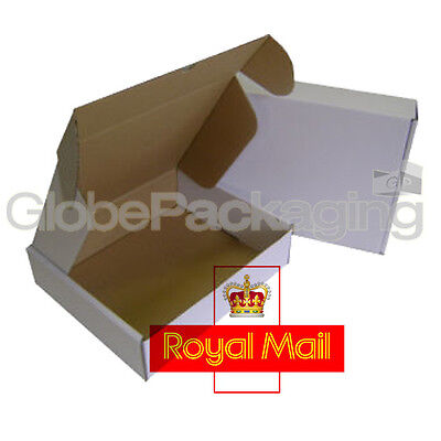 500 x MAX SIZE ROYAL MAIL SMALL PARCEL White Cardboard Postal Boxes 419x338x72mm