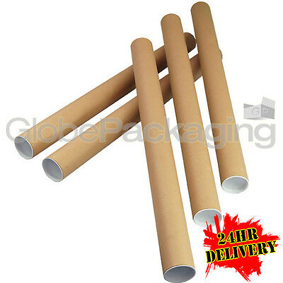 20 x A1 Quality Postal Cardboard Poster Tubes Size 630mm x 50mm + End Caps 24HRS