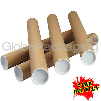 500 x A2 Quality Postal Cardboard Poster Tubes Size 460mm x 50mm + End Caps 24HR