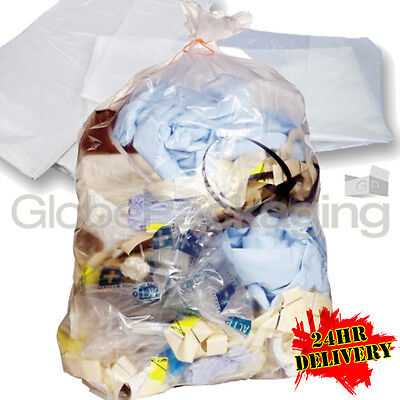 1000 STRONG HEAVY DUTY CLEAR REFUSE SACKS BAGS 18x29x39