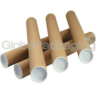 20 x A2 Quality Postal Cardboard Poster Tubes Size 460mm x 50mm + End Caps