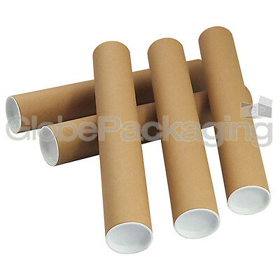 5 x A3 Quality Postal Cardboard Poster Tubes Size 330mm x 50mm + End Caps