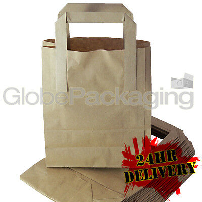 200 SMALL BROWN KRAFT PAPER CARRIER SOS BAGS 7x3.5x8.5