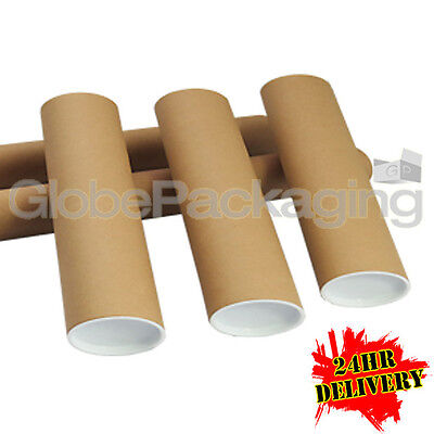 500 x A4 Quality Postal Cardboard Poster Tubes Size 240mm x 50mm + End Caps 24HR