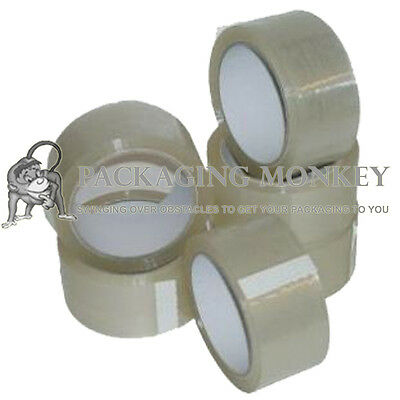 6 Rolls Of Strong Clear Packing Parcel Tape 48mm x 66M